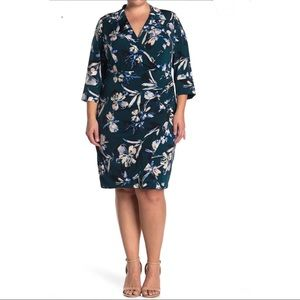 Eliza J V-Neck Floral Print Sheath Dress Size 14W
